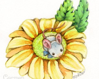 "Mouse on a Daisy - Original Art 4x4"" Watercolor"