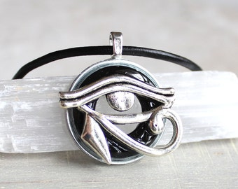 black eye of horus necklace, mens jewelry, boyfriend gift, mens necklace, unique gift, Egyptian god, Egyptian symbol, The Wadjet, mens gift