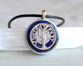 royal blue tree of life necklace, mens jewelry, unique gift, celtic jewelry, mens necklace, mens gift, elven jewelry, nature necklace