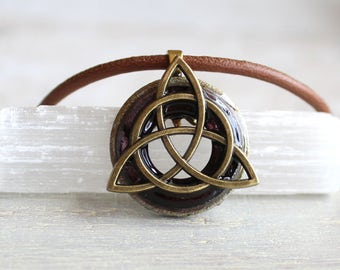 wine triquetra necklace, mens jewelry, celtic jewelry, boyfriend gift, mens necklace, unique gift, irish jewelry, mens gift, wiccan jewelry