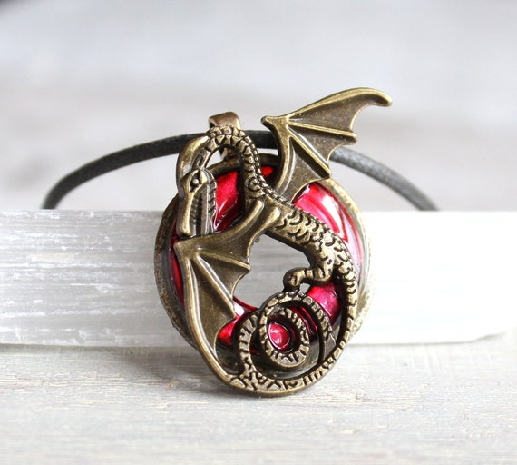 Red dragon necklace dragon jewelry mens necklace mens for Dragon gifts for men