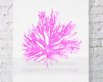 Sea Coral in Pink II Print 8x10 - Sea Life Wall Art - Coral Art Print - Nautical Watercolor Print