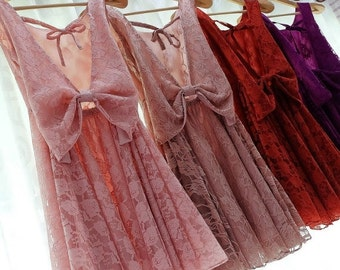 CLEARANCE SALE Party Angel Dress Pink Nude Lace Backless Dress Dusk Lace Prom Party Wedding Bridesmaid Dress Purple Lace Dress Cocktail Lace