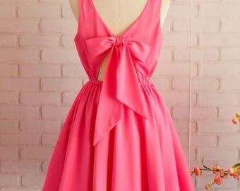 Flamingo pink dress Flamingo pink backless dress pink party dress pink prom dress pink cocktail dress bow back dress pink bridesmaid dresses
