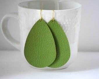 Greenery Pantone Green Avocado Teardrop Drop Leather Earrings