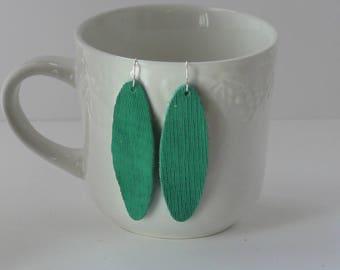 Green Textured Oval Teardrop Drop Earrings Leather