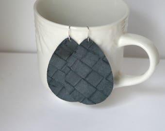 Charcoal Grey Basketweave Lambskin Leather Teardrop Earrings