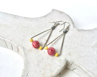 GUITAR STRING EARRINGS  - Team Spirit Earrings - Kansas City Chief's colors - red and yellow - eco-friendly/upcycled jewelry - under 20.00