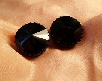 BEAUTIFUL Clip Earrings w/ Black Rivoli Rhinestones Austria VINTAGE
