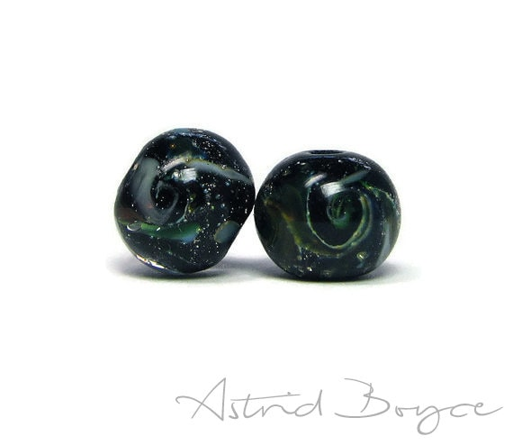 galaxy rounds bead pair space beads artisan lampwork glass beads with a tiny universe inside for your jewelry creations and crafting sra