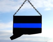 Thin Blue Line Stained Glass Sun Catcher, In The State of Your Choice, Law Enforcement Gift, Gift for Police Officer