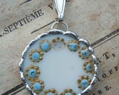Fiona & The Fig -Broken China - Antique Victorian Hand Painted China - Soldered Necklace Pendant Charm- Jewelry