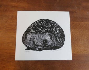 Hedgehog, Original Linocut Print, Open Edition, Singned,  Free Postage in UK, Hand Pulled, Printmaking,