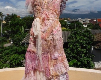 """20%OFF vintage inspired shabby bohemian gypsy dress ..large to firmer 46"""" bust..."""