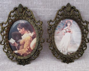 2 Ornate Vintage Shabby Metal Oval Frames with Prints, Italy