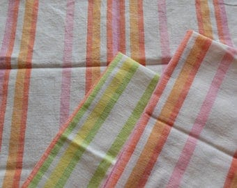Kitchen Towel Set of 3, Pastel Striped Cotton