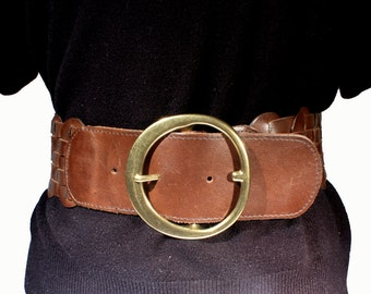 GAP Wide Woven Brown Leather Belt, Fashion Accessory, Solid Brass Large Buckle, Womans Large, XL, Plus Size