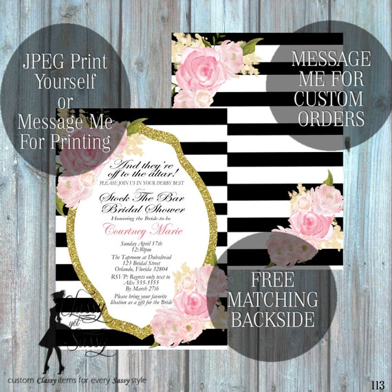 Stock the Bar Bridal Shower invitation,  Flower Invitation, Glitter and Pink Invitation,  Luncheon Bridal Shower 113