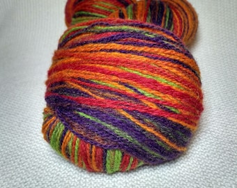 KAUNI Wool Yarn, Self-Striping Festival - Gradient of Green, Purple, Orange, Red