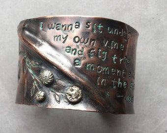 George Washington Sayings Copper Cuff, Hamilton Musical, Christian Jewelry