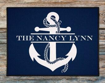 Personalized Door Mat,Personalized Anchor Door Rug, Beach House Doormat, Custom Doormat, Nautical Lake House Boat Welcome Mat, New Boat Gift