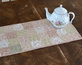 Pretty Pink Table Runner, Cottage Chic Decor, Cotton Floral Quilted Table Runner, Pink Green Kitchen, Feminine Decor, dresser scarf