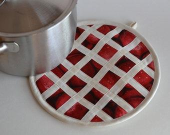 Apple Pie Hot Pad Pot Holder, kitchen fruit decor, American Apple Pie