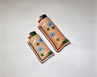 Choice-Hand Tooled Floral Leather Lighter Cases-Bird