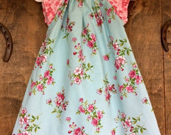 Girl's Peasant Style Dress - A-line - Vintage Apple Blossoms - Aqua and Pink floral pin dots - Sizes Newborn to 8 Years
