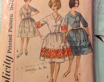 "Vintage Simplicity 4314 Shirt Dress Full Skirt Sewing Pattern 34"" Bust 1960s"