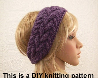Instant download PDF knitting Pattern - headband, head wrap, earwarmer pattern - diy knitting instructions Sandy Coastal Designs
