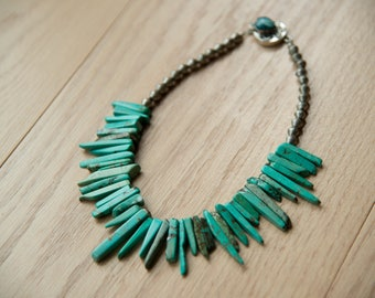 Turquoise spikes and silver bead necklace