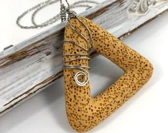 Mustard lava stone essential oils diffuser necklace