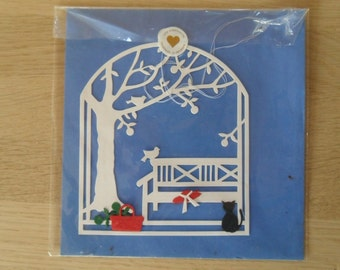 Vintage Danish papercut by Oda wiedbrecht / Cat in the Garden