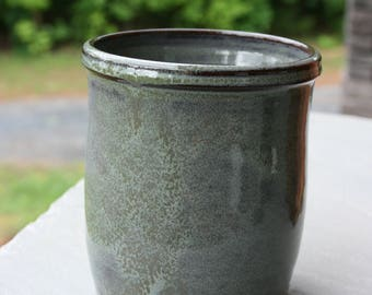 Green Pottery Utensil Holder Kitchen Spoon Holder Jar