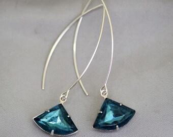 French Navy Blue Art Deco Earrings,Sapphire Earrings,Jewelry,Pendant, Silver Earrings,Faceted Earring,Wedding,Bridal, Bridesmaid Gift