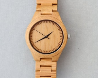 ON SALE Personalized Wooden Watch,Wood Watch, Groomsmen Gifts, Bamboo wooden Watch engraved with personal text - Gift, Anniversary, Wedding