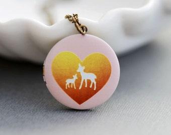 Personalized Necklace ,Personalized Locket,Brass Locket,Deer Locket,baby shower gift,push present,Wedding Necklace