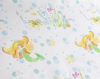 Mermaid with Bubbles whimsical cotton fabric Half Yard Made to Order