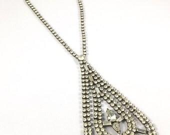 Hollywood Regency Vintage Rhinestone Teardrop Necklace Wedding Jewelry