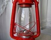 Vintage Oil Lantern Winged Wheel 500 Original Globe Camping Fishing Rustic Decor 1970s