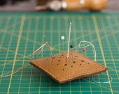 """Pin Cushion Hand Crafted Leather 3""""x3"""" Pillow Pin Cushion Stylish Leather Cushion for Pins"""