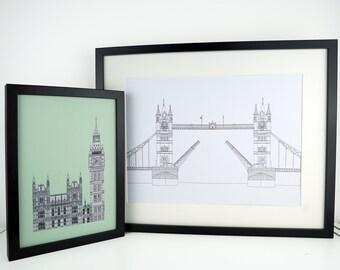 Tower Bridge Print, London Print, Minimalist art, London drawing, art print, Picture of Tower Bridge, England, Illustration of London