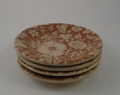 Vintage Restaurant Ware Saucers, Wallace China, Desert Ware Festival Pattern, 4 Saucers