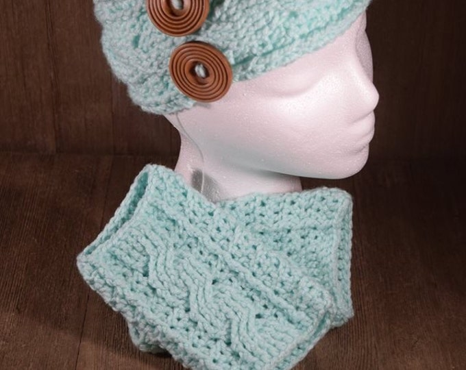 Cable Stitch Crochet Ear Warmer Headband & Wrist Warmer Fingerless Glove Set - Minty