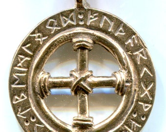 Solar Cross with Futhark Ring - Bronze - 5160B
