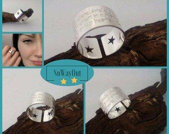 Twin STAR or Heart cut out wide band Ring, Unique gift for her, Star Moon jewelry, Word Ring, Custom engraving handmade sterling silver ring