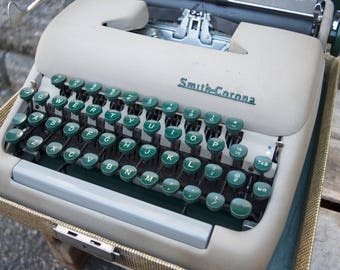 Vintage Smith Corona portable typewriter Tan Green keys with Case MidCentury 1949 Silent Model 5A