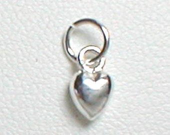 Nail Dangle Teeny TIny Heart in Sterling SIlver 4mm