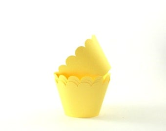 Light Yellow Cupcake Wrapper Party Supplies Table Decor Pastel Yellow